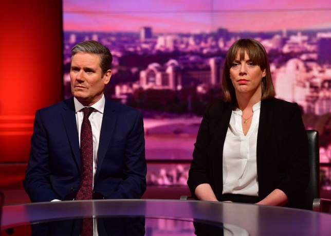 LONDON, ENGLAND - JANUARY 05: (NO SALE/NO ARCHIVE) In this handout image released today and provided by the BBC, Sir Keir Starmer and Jess Phillips appear on The Andrew Marr Show on January 5, 2019 in London, England. (Photo by Handout/Jeff Overs/BBC via Getty Images)
