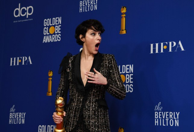 epa08106127 Phoebe Waller-Bridge poses with the Best Performance by an Actress in a Television Series - Musical or Comedy award in the press room during the 77th annual Golden Globe Awards ceremony at the Beverly Hilton Hotel, in Beverly Hills, California, USA, 05 January 2020. EPA/CHRISTIAN MONTERROSA