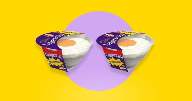 Cadbury Creme Egg trifle on a yellow background