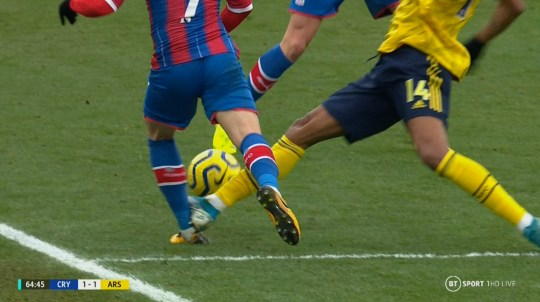 Max Meyer was forced off after Pierre-Emerick Aubameyang's challenge during Crystal Palace's clash with Arsenal