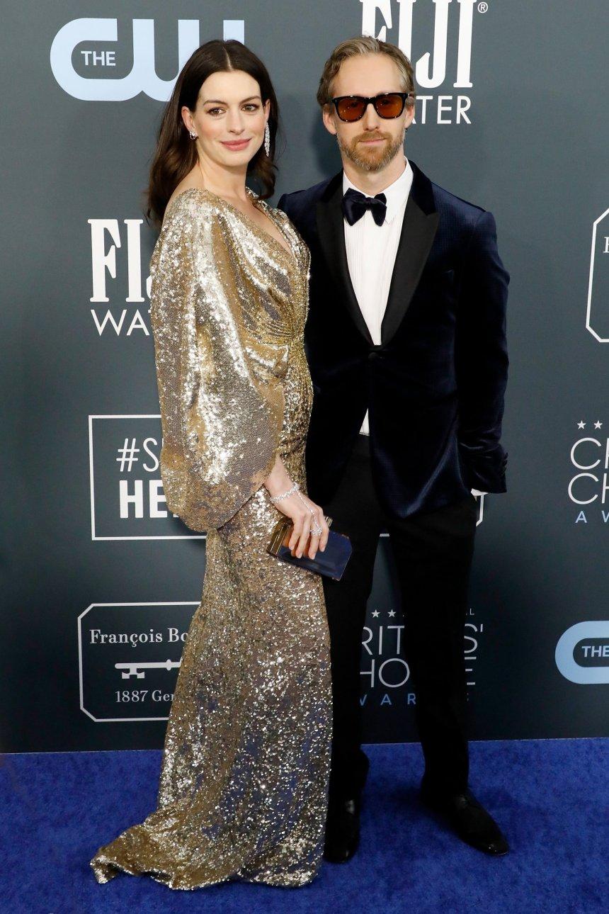 Anne Hathaway and Adam Shulman attend the 25th Annual Critics' Choice Awards