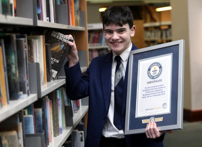 Monty Lord from Bolton who is now the holder of the world record for the most consecutive books identified by their first sentence. See SWNS story SWLEmemory; A WELL-read teenager put his memory skills to the test to book his place in world-record breaking history. Montgomery 'Monty' Lord is the Guinness World Record holder for 'the most consecutive books identified by their first sentence'. The St Joseph's RC High School pupil, officially a world memory champion, correctly identified the first line of 129 books in the testing conditions laid down by Guinness. Monty decided to attempt to set a new Guinness World Record after, in his own time, he started to undertake a research study into the affects of electronic devices on circadian rhythms. His research led him to do a long distance course by the University of Yale, an American Ivy League university. And the course in foundational psychology included a memory module.
