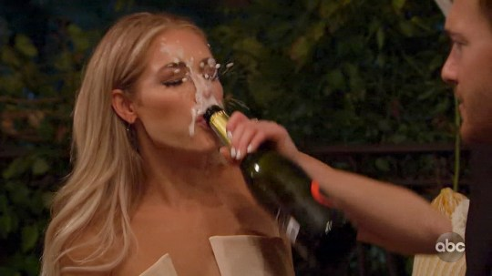 Kelsey The Bachelor has champagne explode in her face