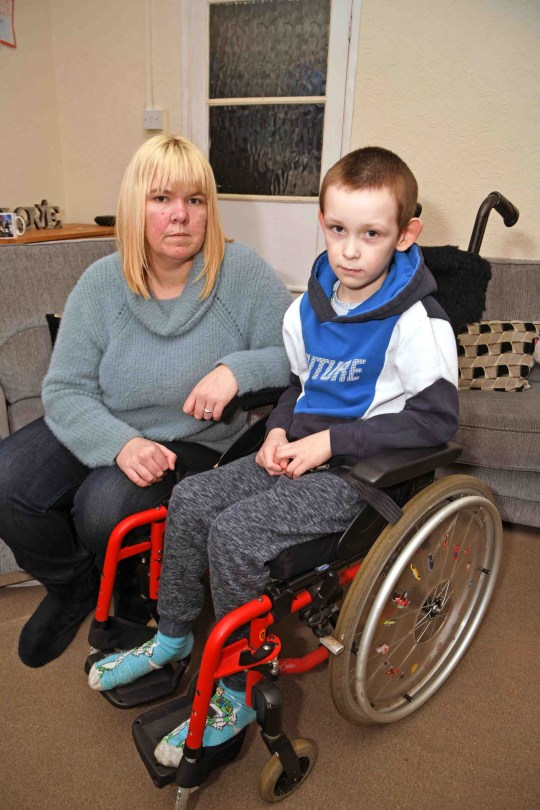 A disabled six-year-old boy was told by a bus driver he wasn't allowed to get on 'in case there was somebody else in a wheelchair waiting around the corner'. Rebecca Allison and her four children, including Jacob, who has cerebral palsy, had visited Grimsby Minster with her sister Emma to light candles for the three children she tragically miscarried. They made their way to Grimsby Bus Station to catch the bus back to the Nunsthorpe estate. Jacob Allison, 7, of Grimsby, with his mum, Rebecca Allison, who were refused access onto a Stagecoach bus because of his wheelchair.
