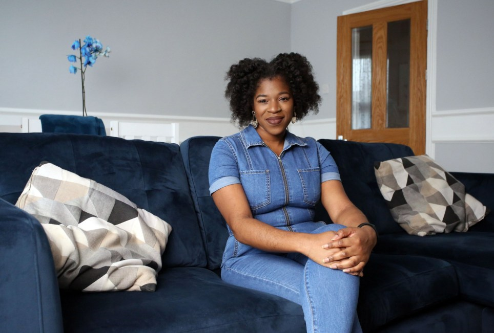 Home owner Lola Abitogun is pictured in the living room of her two-bedroomed flat in Catford, London, January 14th 2020. Lola paid a ?57,000 deposit to buy her apartment for GBP ?330 thousand pounds. Photo credit: Susannah Ireland