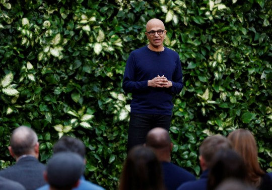 Microsoft CEO Satya Nadella speaks as Microsoft announces plans to be carbon negative by 2030 and to negate all the direct carbon emissions ever made by the company by 2050 at their campus in Redmond, Washington, U.S., January 16, 2020. REUTERS/Lindsey Wasson