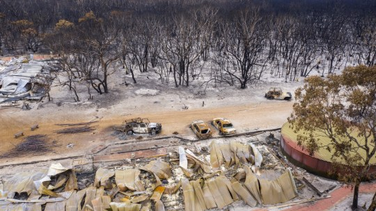 KANGAROO ISLAND, AUSTRALIA - JANUARY 17: An aerial view of burnt trees, cars and buildings on January 17, 2020 in Kangaroo Island, Australia. Kangaroo Island is recovering in the aftermath of a series of bushfires which started on 4 January. The fires, some of which are still burning, claimed two lives and have burned more than 210,000 hectares of land so far. Tens of thousands of native animals have been killed or injured, hundreds of thousands of livestock have been killed and 65 homes have also been destroyed. (Photo by Bill Blair/Getty Images)