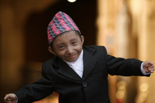 NEW YORK - SEPTEMBER 07: Khagendra Thapa Magar, the worlds smallest teenager at 22 inches tall visits Ripley's Believe It or Not on September 7, 2010 in New York City. (Photo by Neilson Barnard/Getty Images)