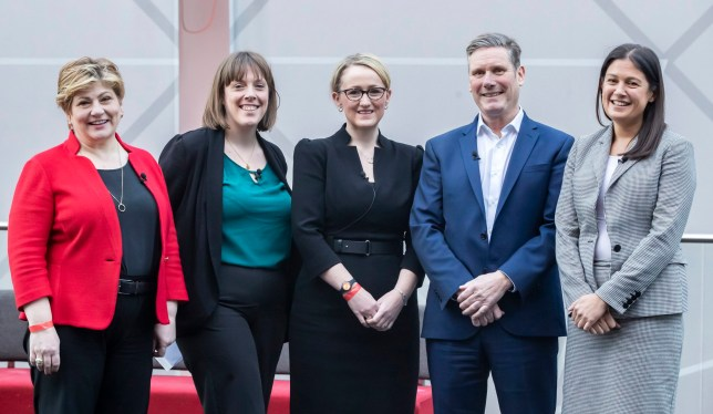 (left to right) Emily Thornberry, Jess Phillips, Rebecca Long-Bailey, Keir Starmer and Lisa Nandy before the Labour leadership husting at the ACC Liverpool. PA Photo. Picture date: Saturday January 18, 2020. See PA story POLITICS Labour. Photo credit should read: Danny Lawson/PA Wire