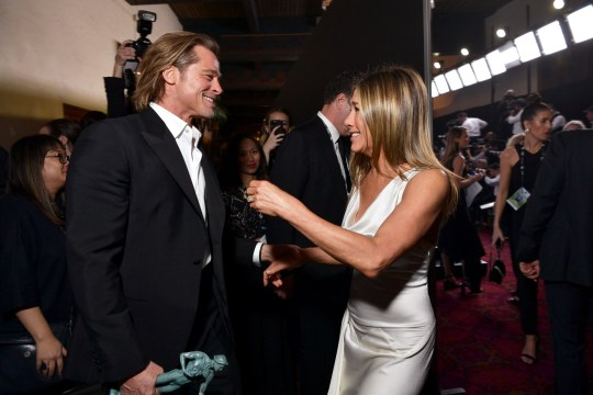 LOS ANGELES, CALIFORNIA - JANUARY 19: Brad Pitt and Jennifer Aniston attend the 26th Annual Screen Actors??Guild Awards at The Shrine Auditorium on January 19, 2020 in Los Angeles, California. 721313 (Photo by Emma McIntyre/Getty Images for Turner)