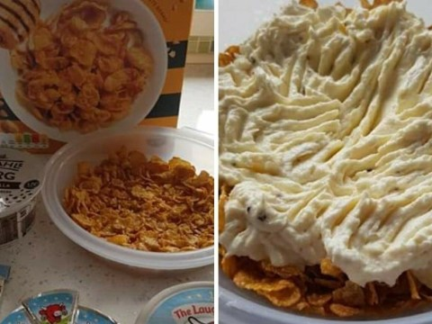 People are horrified by a diet 'cheesecake' made from cornflakes and spreadable cheese