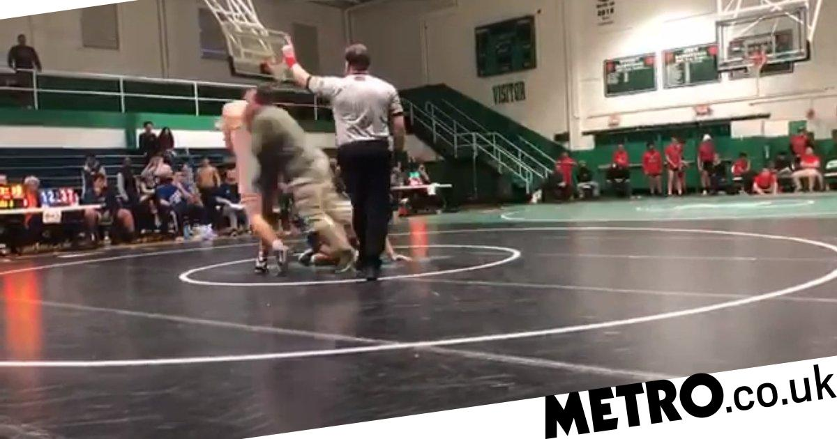 Dad slams son's opponent to floor after he beats him in wrestling match - metro