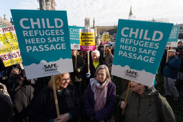 LONDON, UNITED KINGDOM - JANUARY 20, 2020: Activists, demonstrators and campaigners take part in a rally in Parliament Square, organised by Safe Passage charity, urging the peers in the House of Lords to back Lord Dubs Amendment to the EU Withdrawal Bill, which allows for unaccompanied refugee children to be reunited with their relatives in Britain on 20 January, 2020 in London, England. Last week MPs in the Commons rejected proposals, previously accepted by Theresa May's government, to keep protections for child refugees in the redrafted EU Withdrawal Agreement Bill.- PHOTOGRAPH BY Wiktor Szymanowicz / Barcroft Media (Photo credit should read Wiktor Szymanowicz / Barcroft Media via Getty Images)