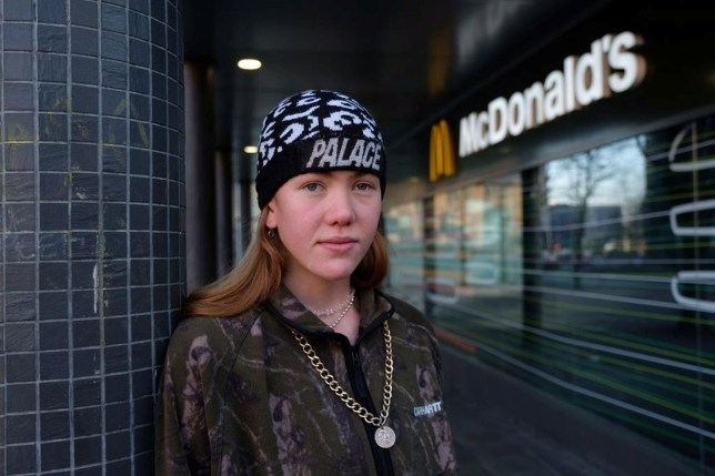 "Lifelong vegetarian Clancy Bogue pictured outside McDonalds. See SWNS story SWBRmcdonalds. A teenager raised by vegetarians who has never eaten meat in her entire life took a bite a chicken burger she was given by mistake at McDonald's. Clancy Bogue, 19, visited the branch in Bristol's Cabot Circus last Monday (Jan 13 and ordered the Vegetable Deluxe burger. She has never eaten meat in her life, having been raised by vegetarians, and remaining vegetarian for moral reasons. But the student, at University of the West of England (UWE), in Bristol, was left feeling sick ""for days"" afterwards."