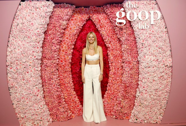 Gwyneth Paltrow standing in front of a structure that is meant to resemble a vagina with the words The Goop Lab at the top