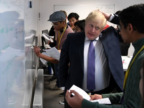 Boris Johnson struggles with A-level maths problems during school visit