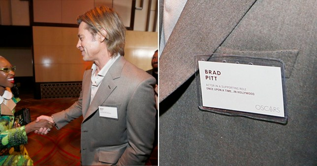 Brad Pitt wears a name tag at Oscars nominees luncheon in case people don't know who he is