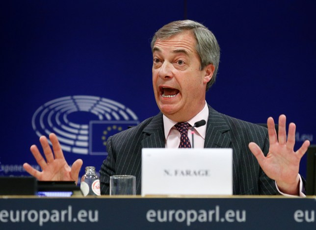 Brexit Party leader Nigel Farage gestures as he speaks during a news conference ahead of a vote in the European Parliament on the Withdrawal Agreement in Brussels, Belgium January 29, 2020. REUTERS/Francois Lenoir