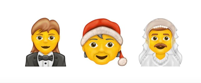 New emojis include: Woman in Tuxedo, Mx Claus, Man with Veil (Picture: Emojipedia)