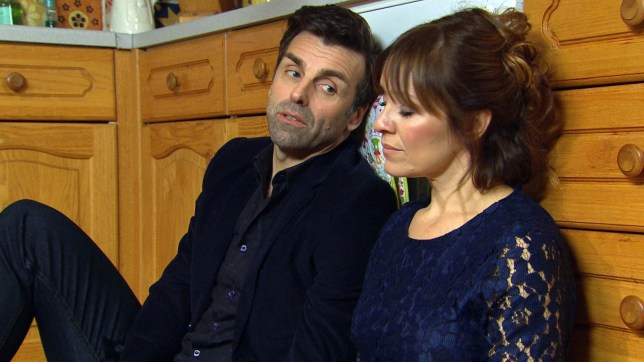 Jonathan Wrather as Pierce Harris and Zoe Henry as Rhona Goskirk Emmerdale.