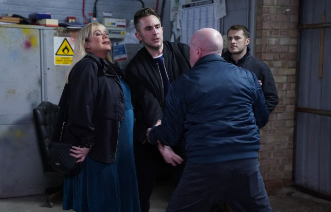 Sharon and Phil Mitchell, Callum Highway and Ben Mitchell in EastEnders