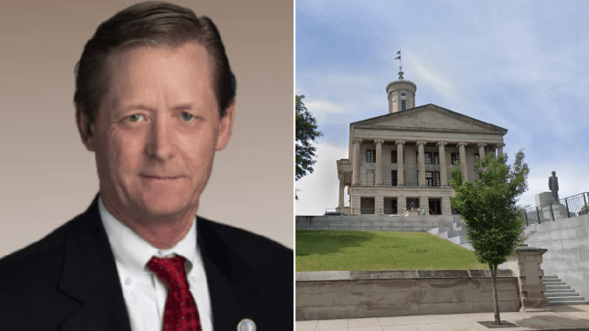 File photo of Representative Bruce Griffey next to file photo of Tennessee State Capitol Building