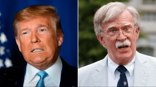 Photo of Donald Trump next to photo of John Bolton