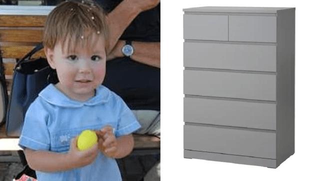 Photo of Josef Dudek next to file photo of Ikea Malm dresser