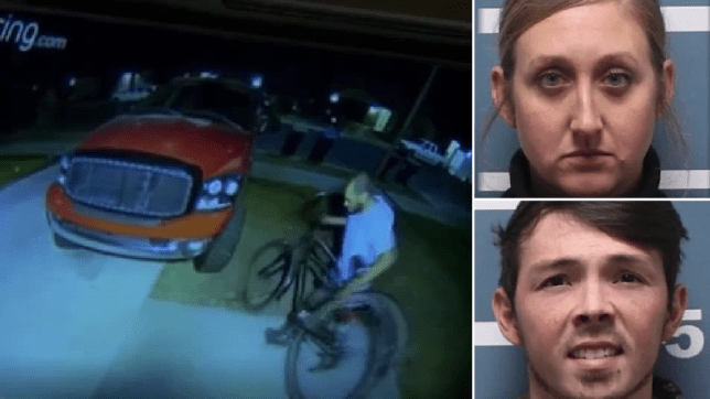 Grab of thief stealing bike next to mugshots of Savannah Grillot and Corey Curnutt