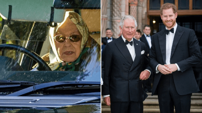The Queen driving car (left) and picture of Prince Charles and Prince Harry