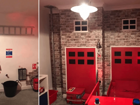 Mum creates amazing fire station bedroom for four-year-old son with a budget of under £100