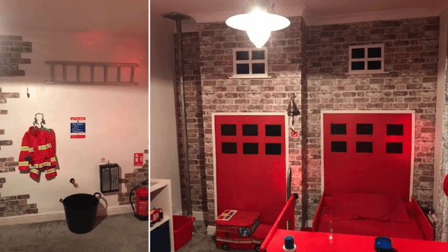 Fire engine themed bedroom