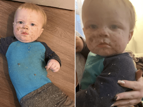 Baby does not look happy about being rescued from air vent he fell into