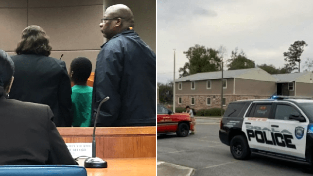 Photo of nine year-old boy in court next to photo of apartment complex where he stabbed sister