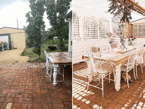 Mum transforms plain driveway into stunning dining area