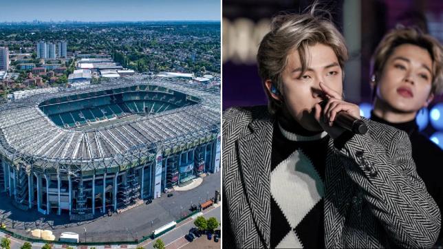 Twickenham stadium alongside a photo of BTS