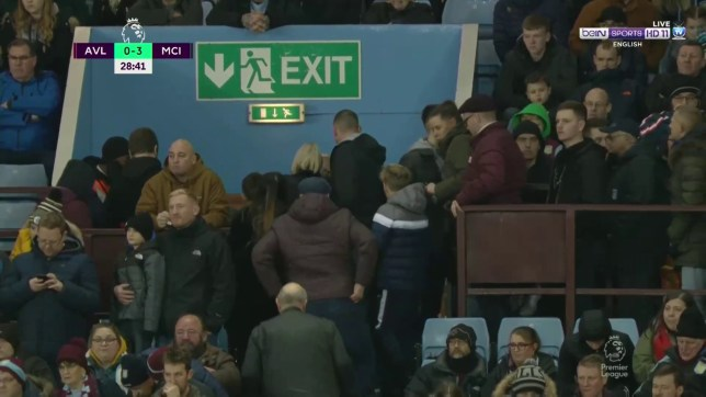 Aston Villa fans left the stadium in their droves as Sergio Aguero scored a third for Manchester City