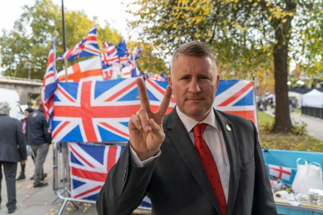 Mandatory Credit: Photo by Edward Crawford/SOPA Images/REX (10463717p) Paul Golding the leader of Britain First gestures outside the House of Parliament. Pro and Anti Brexit Protest, London, UK - 30 Oct 2019