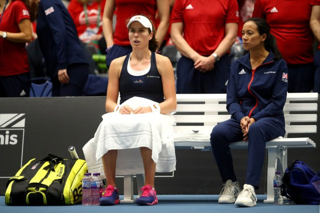 Johanna Konta sits next to Great Britain Fed Cup captain Anne Keothavong