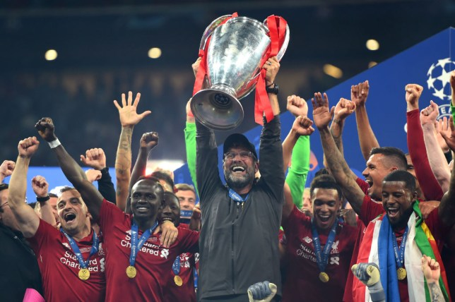 Jurgen Klopp, Manager of Liverpool celebrates with the UEFA Champions League Trophy