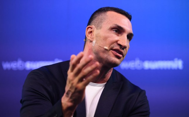 Heavyweight boxer Wladimir Klitschko speaks to the crowd at an event