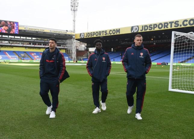 Arsenal stars Bernd Leno and Bukayo Saka and Gabriel Martinelli