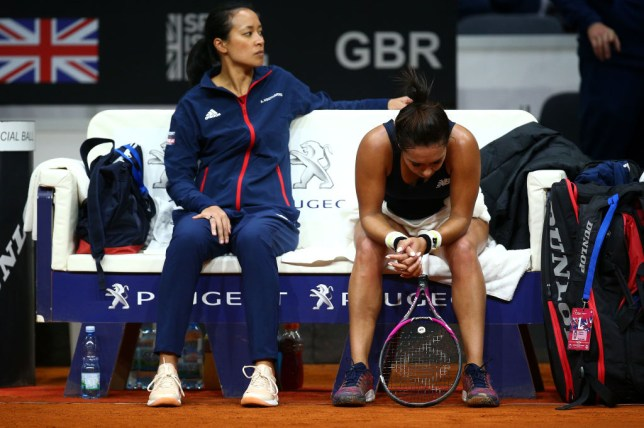 Great Britain's Heather Watson looks dejected during her singles match against Anna Karolina Schmiedlova of Slovakia during the Fed Cup Qualifier match between Slovakia and Great Britain at AXA Arena NTC on February 7, 2020 in Bratislava, Slovakia.