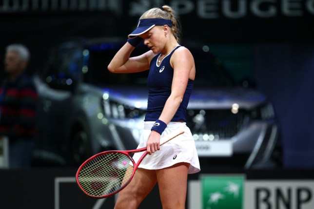 Great Britain's Harriet Dart looks dejected after losing a game during her singles match against Viktoria Kuzmova of Slovakia during the Fed Cup Qualifier match between Slovakia and Great Britain at AXA Arena NTC on February 7, 2020 in Bratislava, Slovakia.