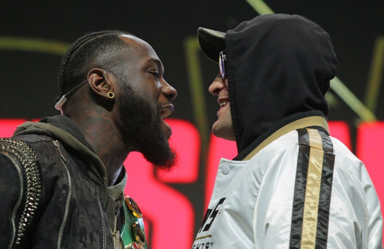 Tyson Fury and Deontay Wilder face off before their heavyweight fight