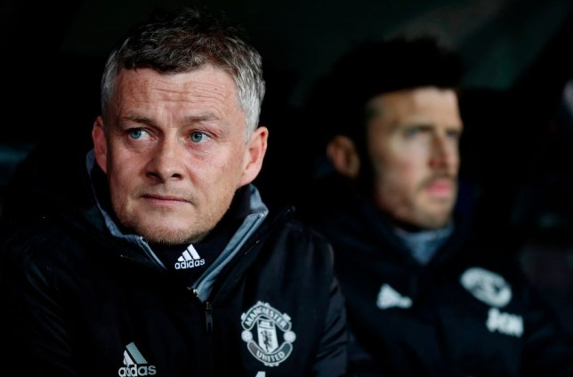Ole Gunnar Solskjaer watches on from the bench in Manchester United's Europa League clash with Club Brugge