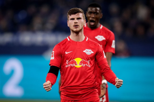 Liverpool and Manchester United target Timo Werner during Leipzig's clash with Schalke