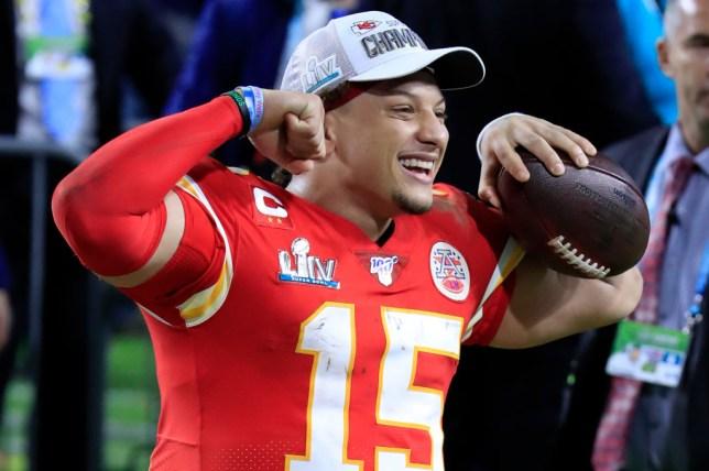 Patrick Mahomes celebrates after the Kansas City Chiefs beat the San Francisco 49ers at Super Bowl LIV