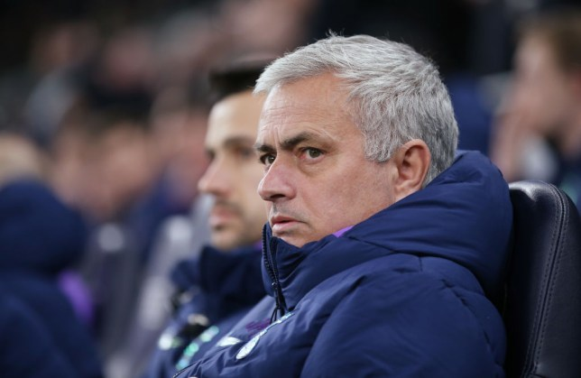 Tottenham Hotspur manager Jose Mourinho watches on from the sidelines