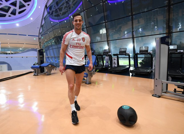 Arsenal defender Cedric Soares smiles as he is pictured in the gym